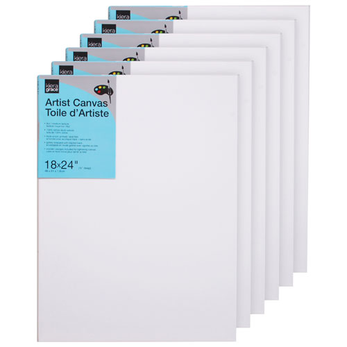 "Kiera Grace 18"" x 24"" Artist Canvas - 6 Pack"