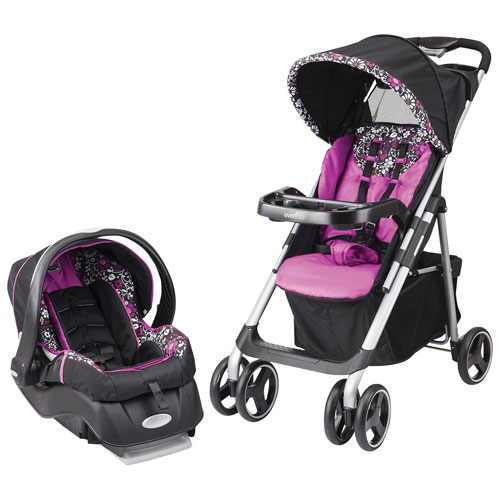 Evenflo Vive Travel System Standard Stroller with Embrace Infant Car Seat - Pink/White/Black