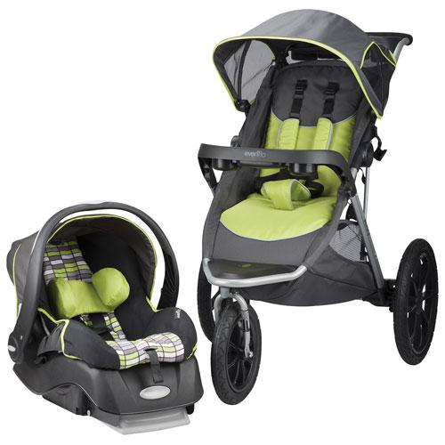 Evenflo Victory Travel System Jogging Stroller with Embrace Infant Car Seat - Grey/Black/Green