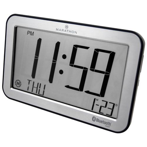 Marathon Panoramic Bluetooth Digital Tabletop Clock - Brushed Steel