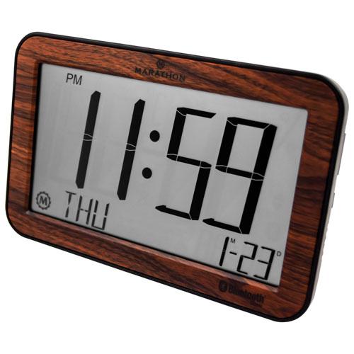 Marathon Panoramic Bluetooth Digital Tabletop Clock - Wood Grain