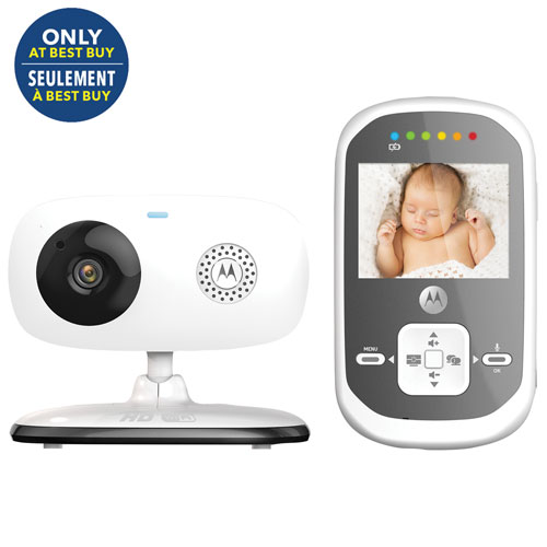"""Motorola 2.4"""" Screen Digital Video Baby Monitor with Wi-Fi - White/Grey - Only at Best Buy"""