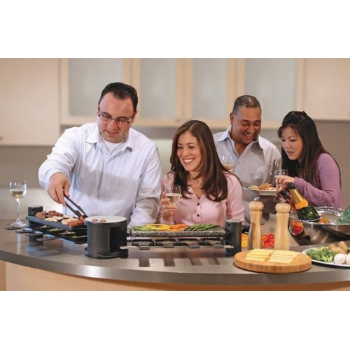 swissmar 8 person swivel raclette with hot stone black indoor grills sandwich makers. Black Bedroom Furniture Sets. Home Design Ideas