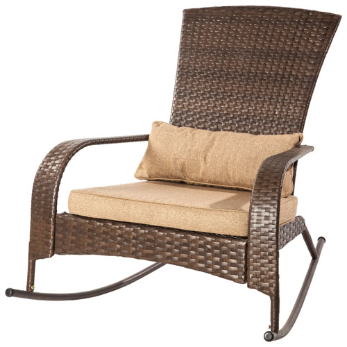 Patio Flare Traditional Premium Wicker Muskoka Rocker Chair - Brown