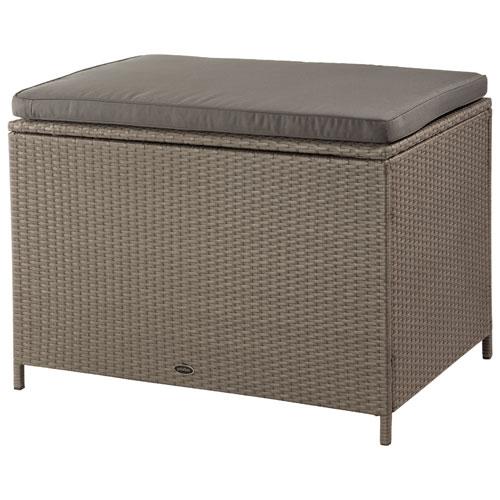 Patio Flare Modern Ferrara Wicker Deck Box Water Resistant Seat - Ash Brown