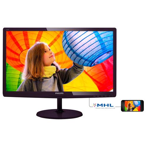 "Philips 24"" FHD 60Hz 5ms GTG IPS LED Monitor (247E6QDSD) - Black Cherry"
