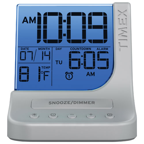 Timex T125 Colour Changing Alarm Clock With Usb Port Silver