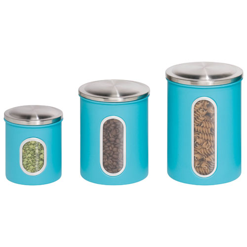 Honey-Can-Do 3-Piece Canister Set - Blue