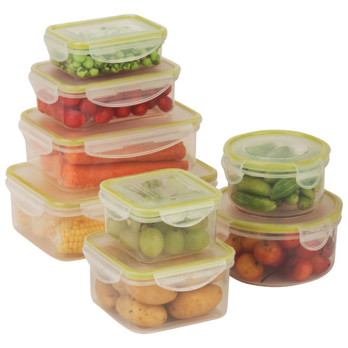 Honey-Can-Do 8-Piece Locking Food Container Set - Clear