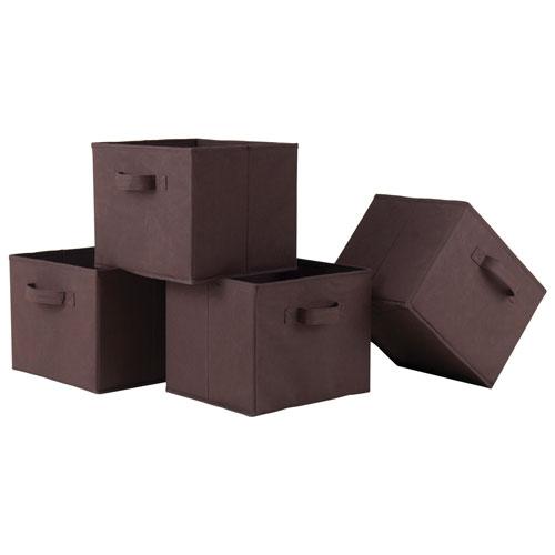 Capri Foldable Fabric Baskets - Set of 4 - Chocolate