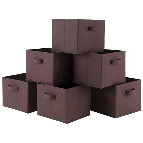 Capri Foldable Fabric Baskets - Set of 6 - Chocolate