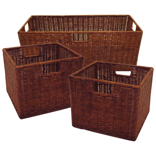 Leo Small & Large Wired Baskets - Set of 3 - Antique Walnut