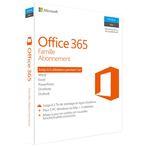 Microsoft Office 365 Home (PC/Mac) - 5 User - 1 Year - French