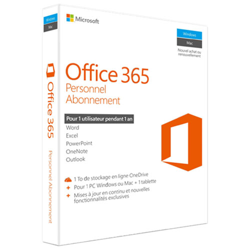 Microsoft Office 365 Personal (PC/Mac) - 1 User - 1 Year - French