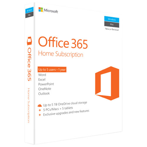 Microsoft Office 365 Home (PC/Mac) - 5 User - 1 Year - English