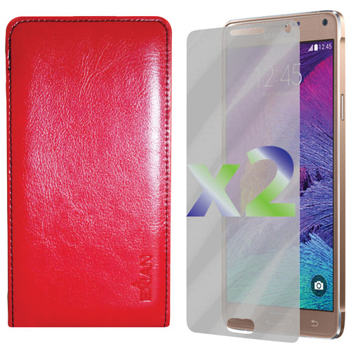 Exian Galaxy Note 4 Leather Fitted Soft Shell Case with Screen Protectors - Red