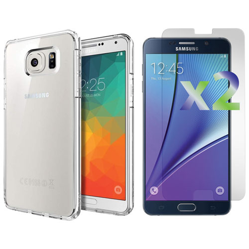 Exian Samsung Galaxy Note 5 Fitted Soft Shell Case with Screen Protectors - Clear