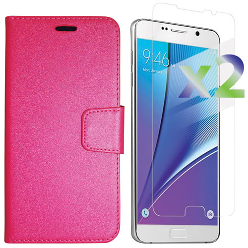Exian Galaxy Note 5 Fitted Soft Shell Case with Screen Protectors - Hot Pink