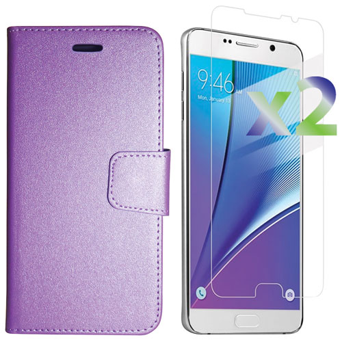 Exian Galaxy Note 5 Fitted Soft Shell Cover Case with Screen Protectors - Purple