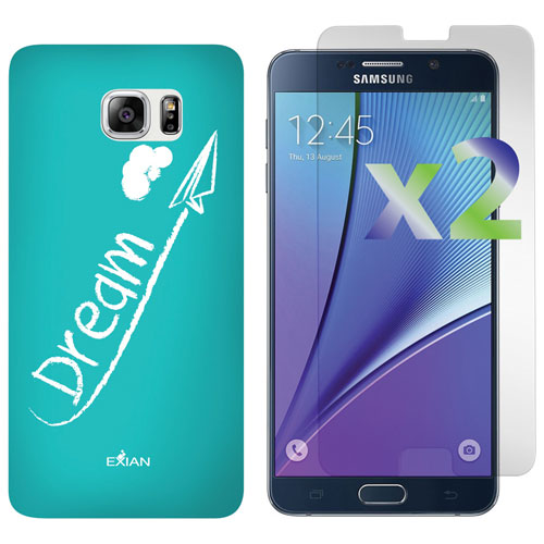 Exian Galaxy Note 5 Fitted Soft Shell Case with Screen Protectors - Dream