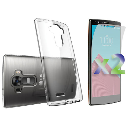 Exian LG G4 Fitted Soft Shell Case with Screen Protectors - Clear
