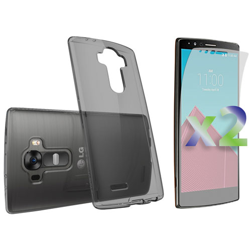 Exian LG G4 Fitted Soft Shell Case with Screen Protectors - Grey