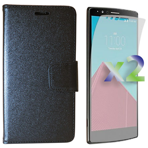 Exian LG G4 Fitted Soft Shell Case with Screen Protectors - Black