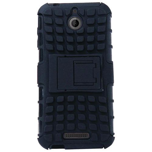 Étui souple ajusté d'Exian avec protecteurs d'écran pour Desire 510 de HTC - Noir