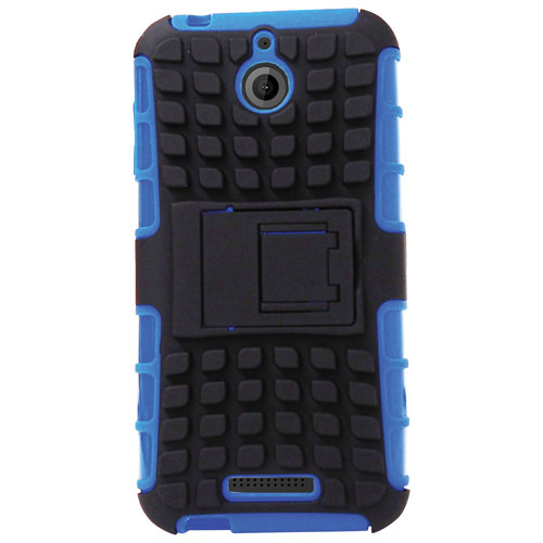 Exian HTC Desire 510 Fitted Soft Shell Case with Screen Protectors - Blue
