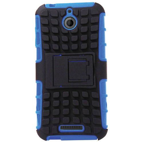 Étui souple ajusté d'Exian avec protecteurs d'écran pour Desire 510 de HTC - Bleu