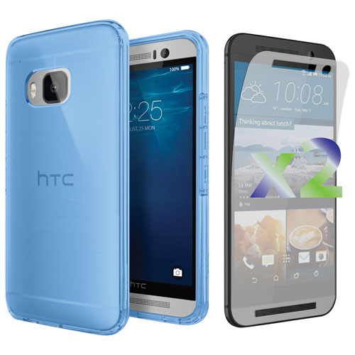 Exian One M9 Fitted Soft Shell Case with Screen Protector - Blue