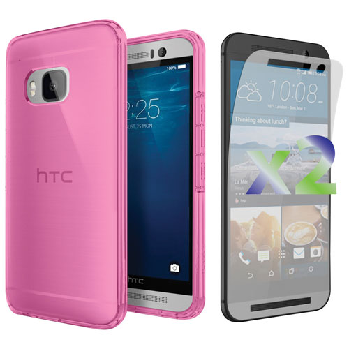 Exian One M9 Fitted Soft Shell Case with Screen Protector - Pink
