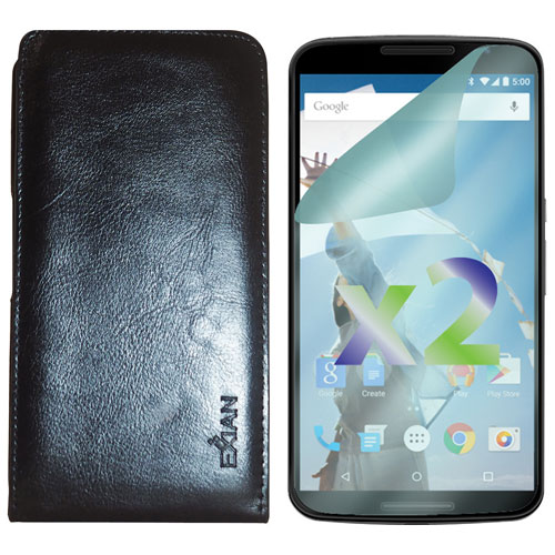 Exian Google Nexus 6 Leather Fitted Soft Shell Case with Screen Protectors - Black