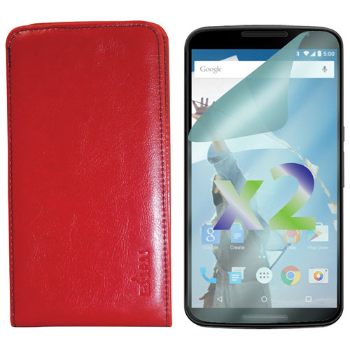 Exian Google Nexus 6 Leather Fitted Soft Shell Case with Screen Protectors - Red