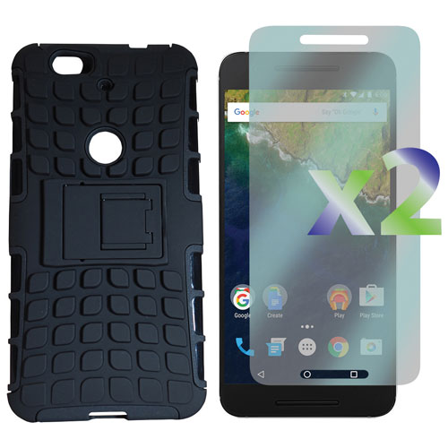 Exian Google Nexus 6p Fitted Soft Shell Stand Case with Screen Protectors - Black