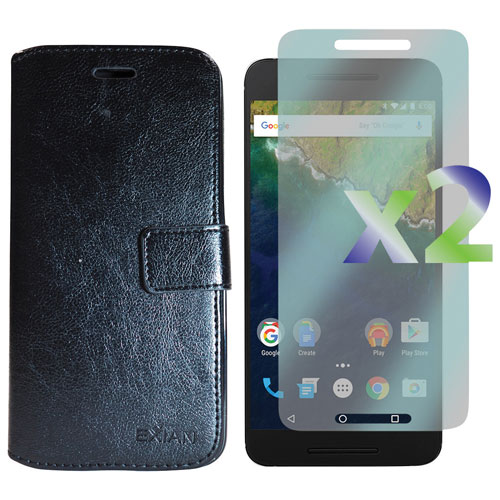 Exian Google Nexus 6p Fitted Soft Shell Cover Case with Screen Protectors - Black