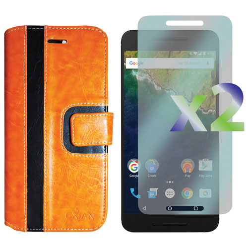 Exian Google Nexus 6p Fitted Soft Shell Case with Screen Protectors - Orange/Black
