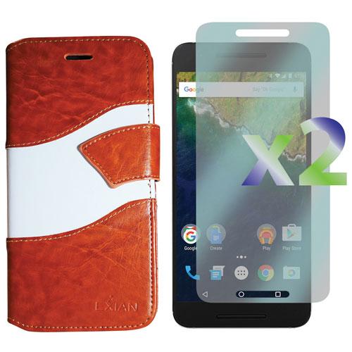 Étui folio d'Exian pour Nexus 6P - Beige - Blanc