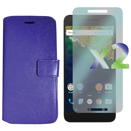 Exian Google Nexus 6p Fitted Soft Shell Case with Screen Protectors - Purple