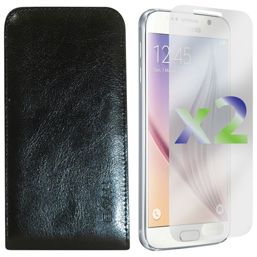 Exian Galaxy S6 Leather Fitted Soft Shell Case with Screen Protectors - Black