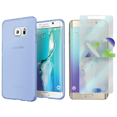 Exian Samsung Galaxy S6 Edge Plus Fitted Soft Shell Case with Screen Protectors - Blue