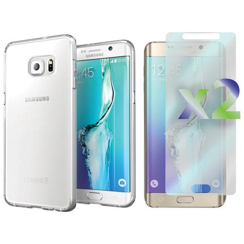 Étui souple ajusté d'Exian pour Galaxy S6 Edge Plus de Samsung avec protecteurs d'écran - Transp.