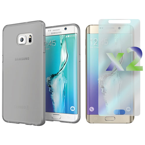 Exian Samsung Galaxy S6 Edge Plus Fitted Soft Shell Case with Screen Protectors - Grey