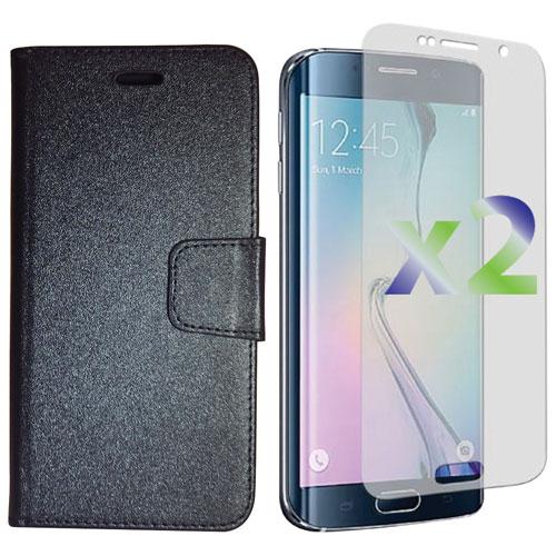 Étui souple ajusté à rabat d'Exian pour Galaxy S6 edge+ de Samsung avec protecteurs d'écran - Noir