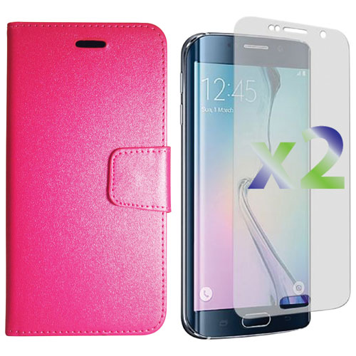 Exian Galaxy S6 Edge Plus Fitted Soft Shell Case with Screen Protectors - Hot Pink