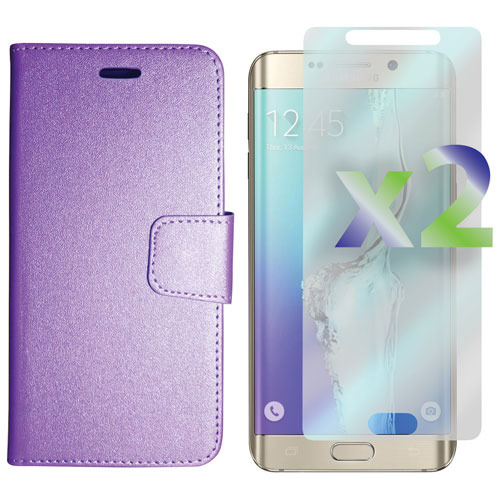 Exian Galaxy S6 Edge Plus Fitted Soft Shell Case with Screen Protectors - Purple
