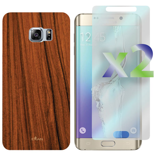 Exian Galaxy S6 Edge Plus Fitted Soft Shell Case with Screen Protectors - Brown