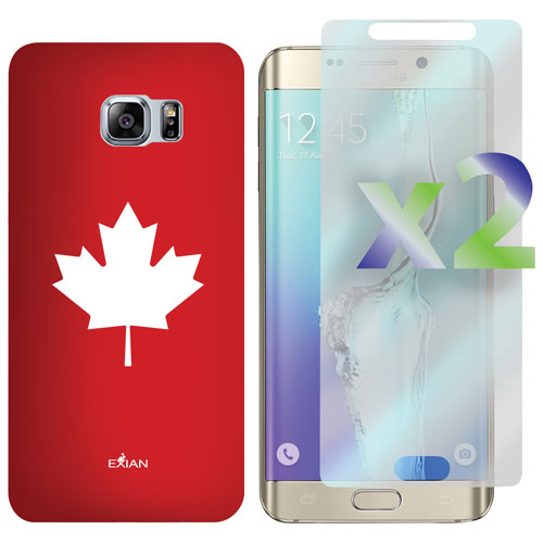 Exian Galaxy S6 Edge Plus Fitted Soft Shell Case with Screen Protectors - Red/White
