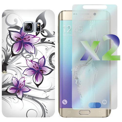 Exian Galaxy S6 Edge Fitted Soft Shell Case with Screen Protector - White/Purple