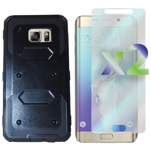 Exian Galaxy S6 Edge Plus Fitted Hard Shell Case with Screen Protectors - Black